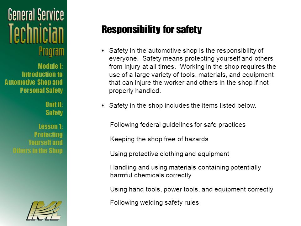 Responsibility for safety