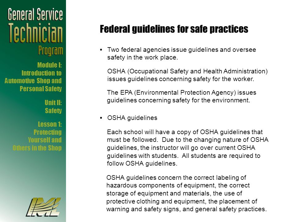 Federal guidelines for safe practices