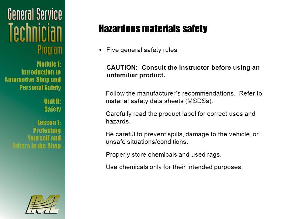 Hazardous materials safety