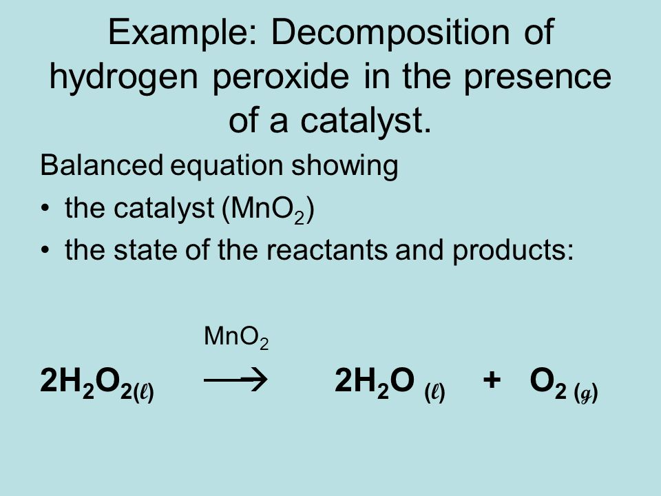 heat of decomposition of hydrogen peroxide essay 65 fiexperiment 13 the decomposition of hydrogen peroxide objectives • to determine the general rate law of a reaction • to determine the rate constant for a.