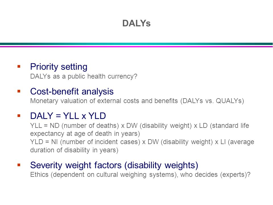 DALYs Priority setting DALYs as a public health currency Cost-benefit analysis Monetary valuation of external costs and benefits (DALYs vs. QUALYs)