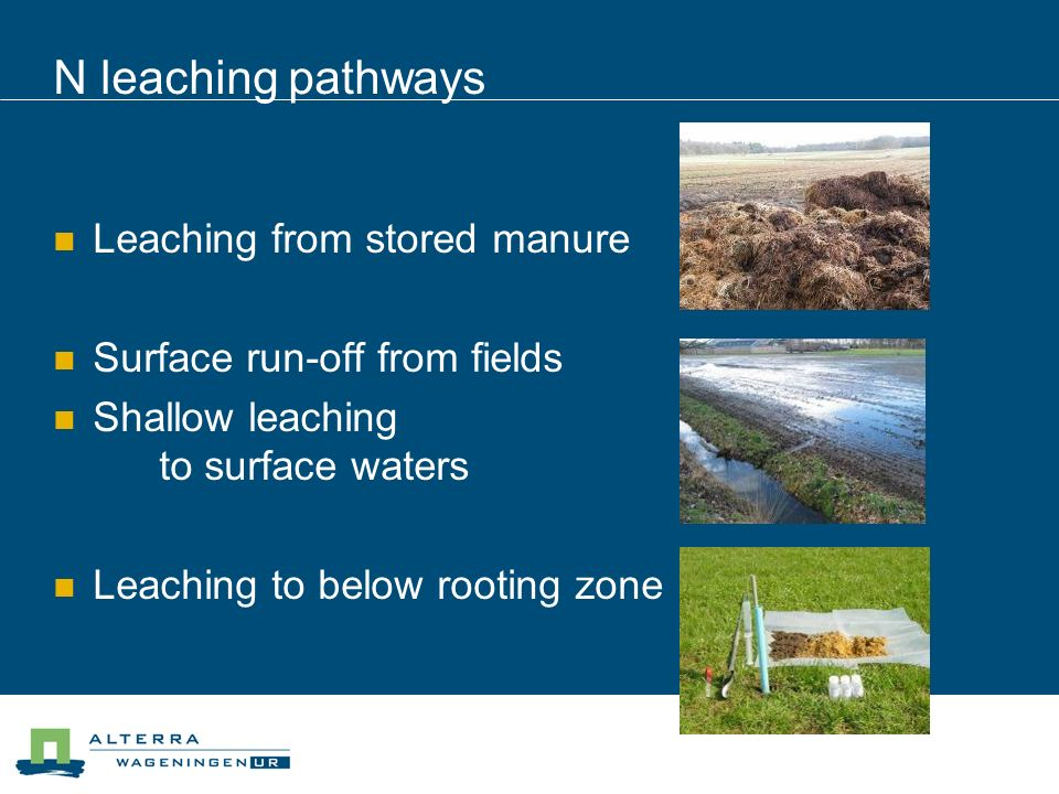 N leaching pathways Leaching from stored manure