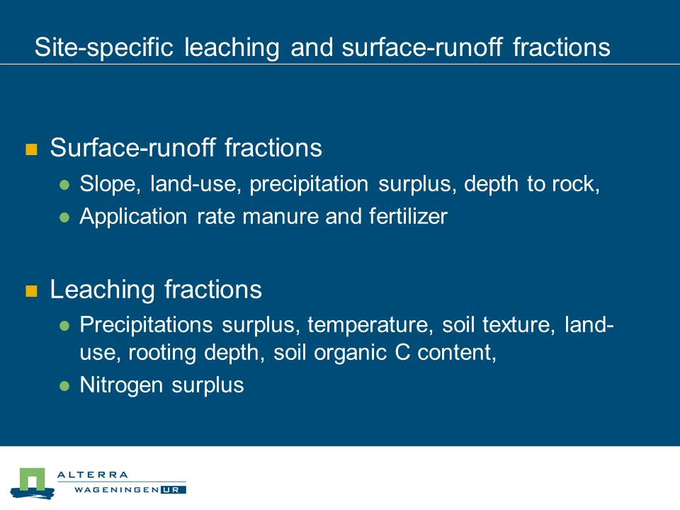 Site-specific leaching and surface-runoff fractions