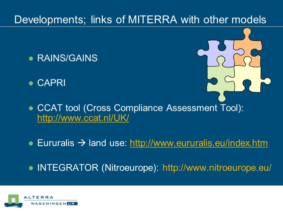 Developments; links of MITERRA with other models