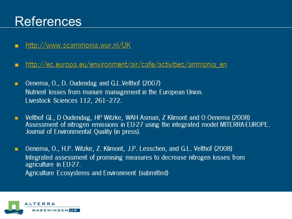 References http://www.scammonia.wur.nl/UK