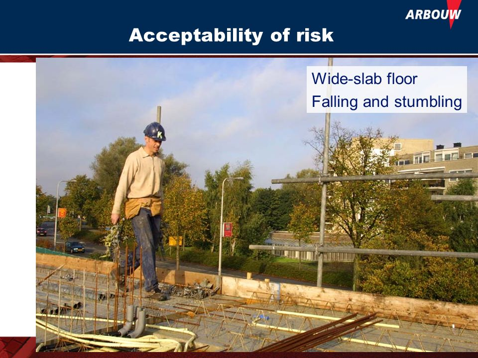 Acceptability of risk Wide-slab floor Falling and stumbling