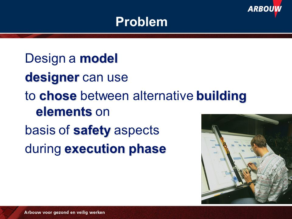 Problem Design a model. designer can use. to chose between alternative building elements on. basis of safety aspects.