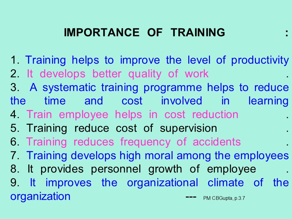 the importance of training to quality However, if you look past this, there are a number of important reasons why ongoing staff training can be beneficial to the business and should therefore be made a priority with a quality training plan in place, you will also see your return on investment within your balance sheet.