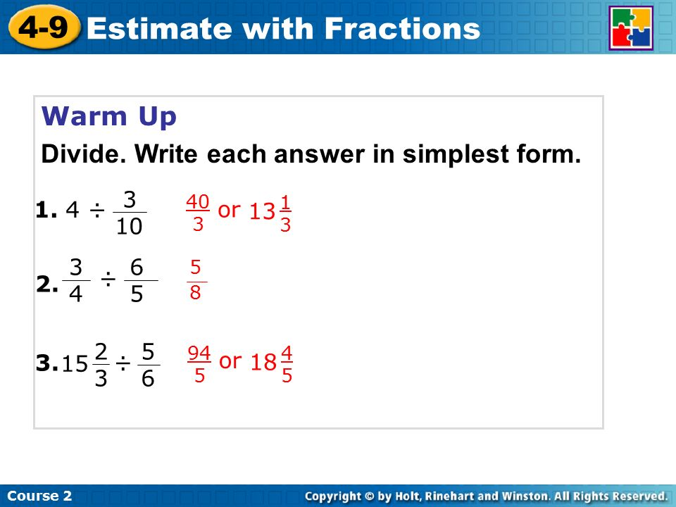 Estimate with Fractions - ppt video online download