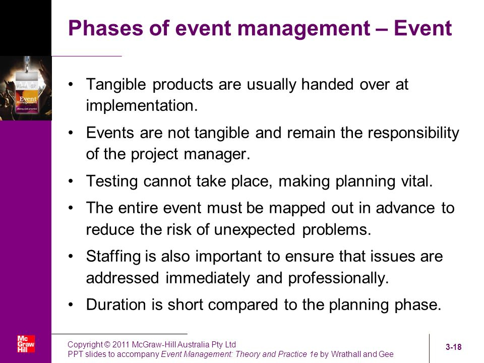 planning and implementation of events 4 preparing the project implementation plan this is usually done by identifying clear and measurable milestone events, or outputs, tasks and activities that have to be accomplished within a specified period of time and meet certain quality standards.