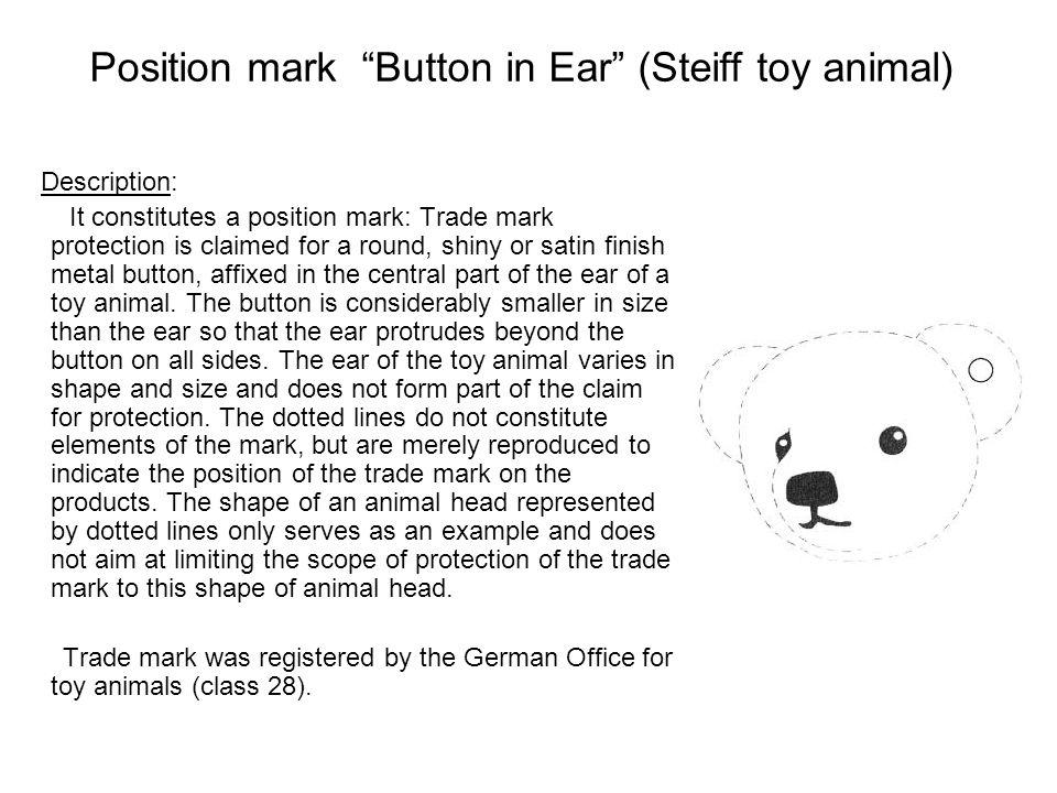 Position mark Button in Ear (Steiff toy animal)