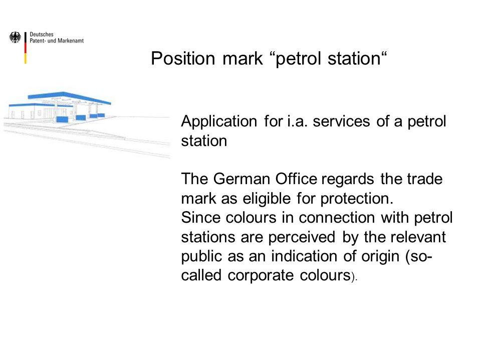 Position mark petrol station