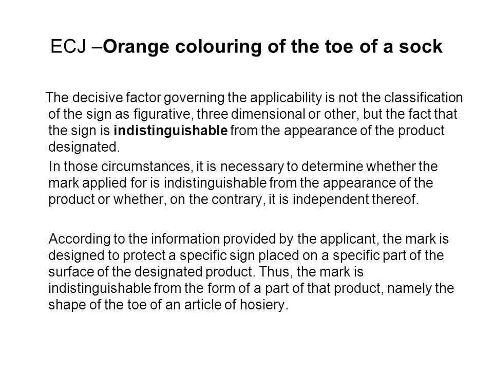 ECJ –Orange colouring of the toe of a sock