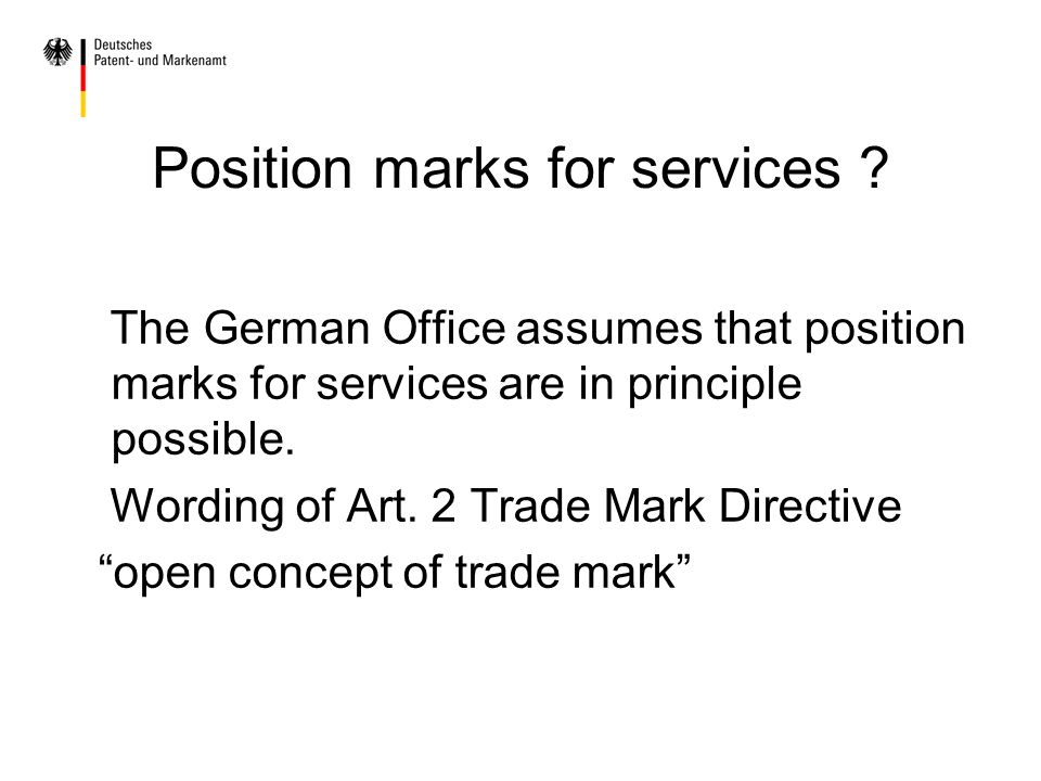 Position marks for services