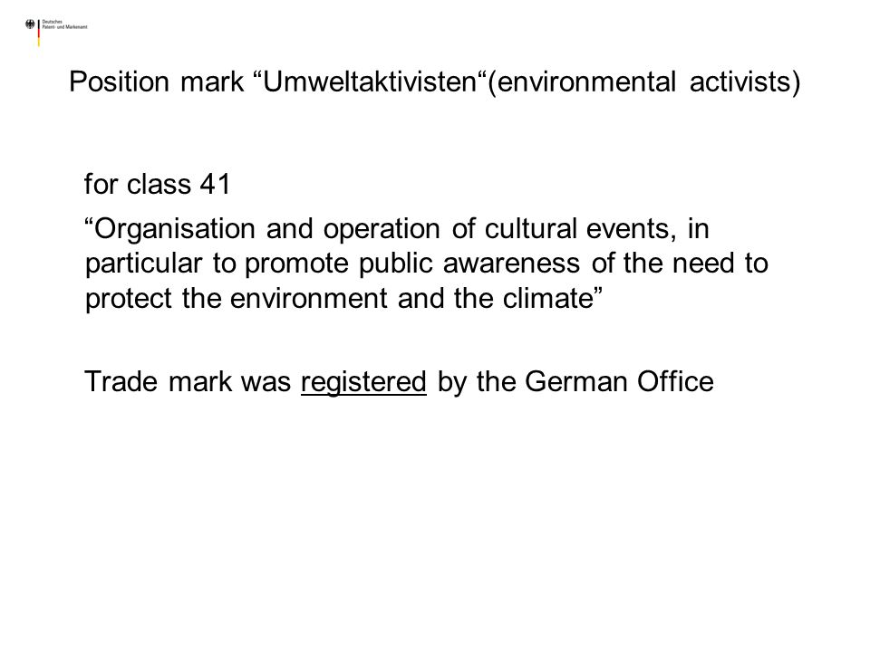 Position mark Umweltaktivisten (environmental activists)