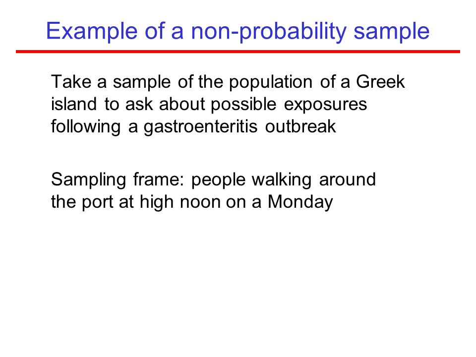 Example of a non-probability sample
