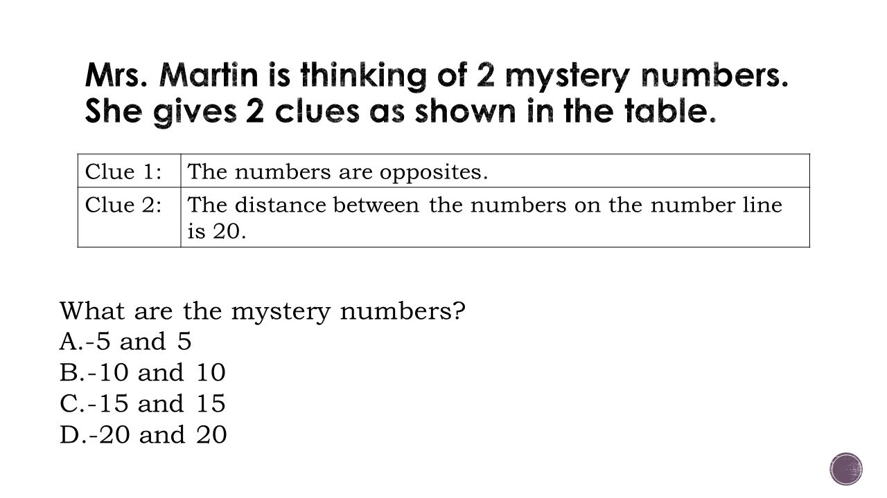 worksheet Mystery Number adding and subtracting integers ppt download mrs martin is thinking of 2 mystery numbers