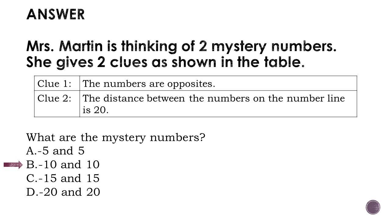 worksheet Mystery Number adding and subtracting integers ppt download answer mrs martin is thinking of 2 mystery numbers