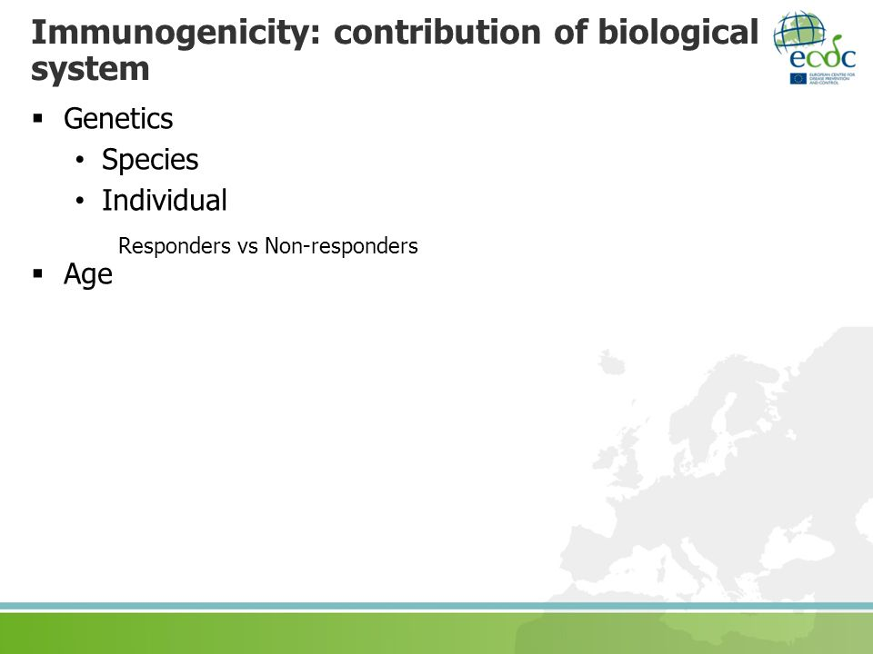 Immunogenicity: contribution of biological system