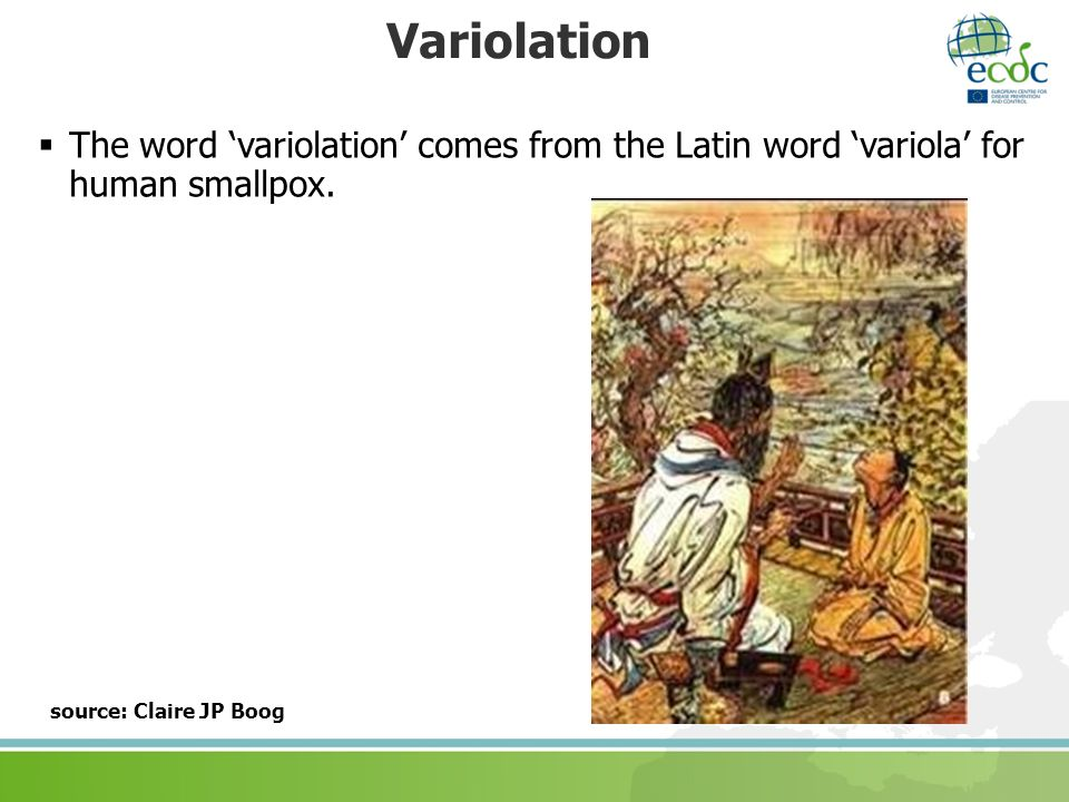 Variolation The word 'variolation' comes from the Latin word 'variola' for human smallpox.