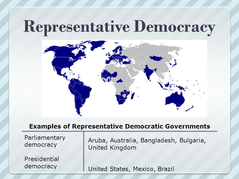 representative democracy I'll just use the us as an example the us is a republic a representative democracy is not a true democracy it is actually the same thing as a republic.