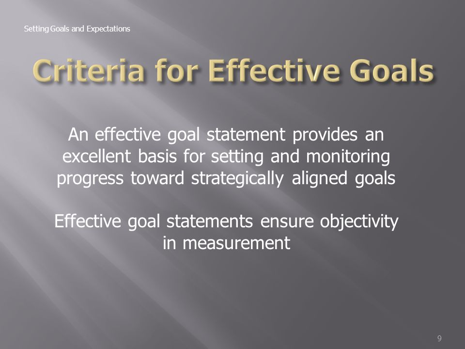 criteria for effective goals The inclusion of the above criteria results in a goal that is understandable and easily  the road to effective performance management is not always an .