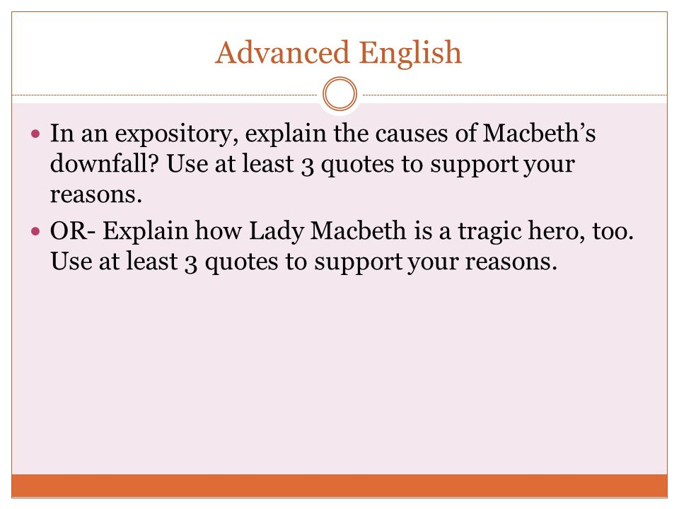 macbeth essays - downfall Downfall of macbeth, as he succumbs to the great provocation coming from his wife in the larger context, this passage shows shakespeare's insight into human nature.