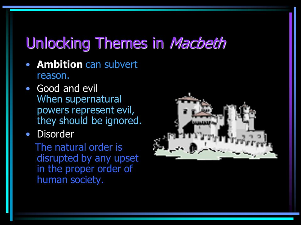 order and disorder in macbeth A bbc bitesize secondary school revision resource for higher english on macbeth's themes: guilt, order and disorder, false appearance, bravery, and others.