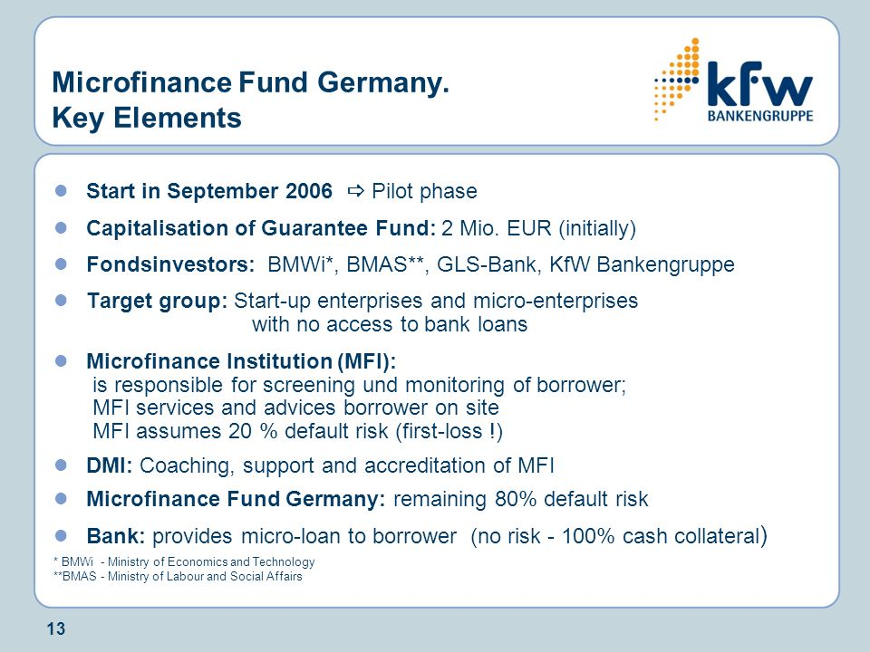 Microfinance Fund Germany. Key Elements