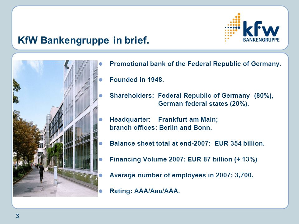 KfW Bankengruppe in brief.