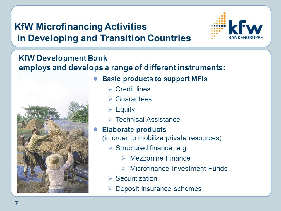 KfW Microfinancing Activities in Developing and Transition Countries