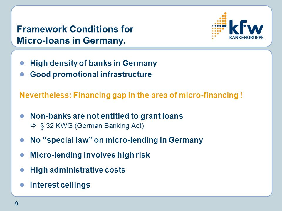 Framework Conditions for Micro-loans in Germany.