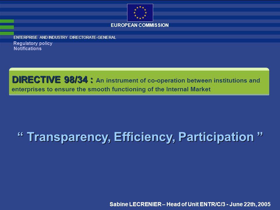 Transparency, Efficiency, Participation