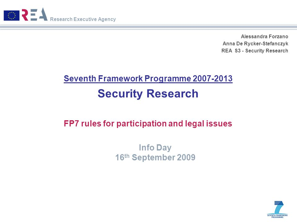 Security Research Seventh Framework Programme 2007-2013