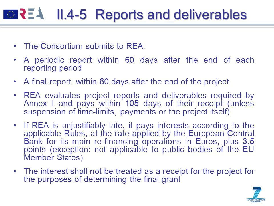 II.4-5 Reports and deliverables