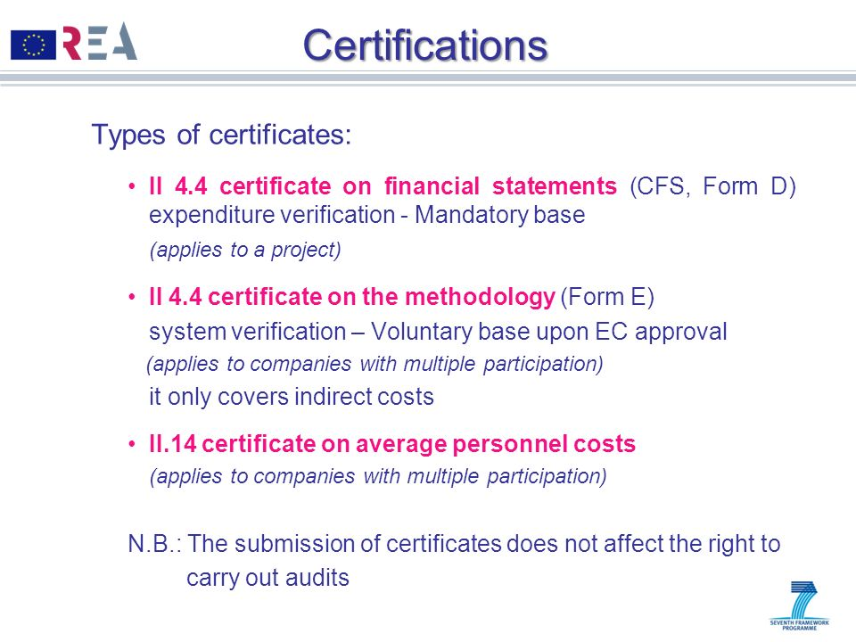 Certifications Types of certificates: