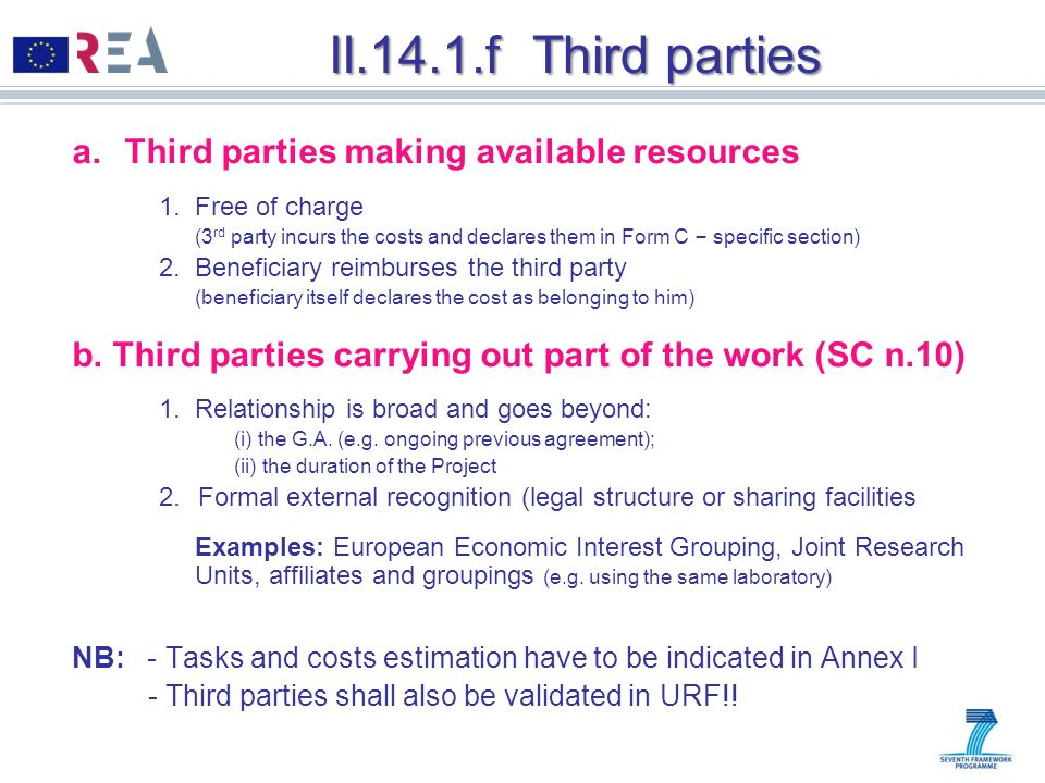 II.14.1.f Third parties Third parties making available resources