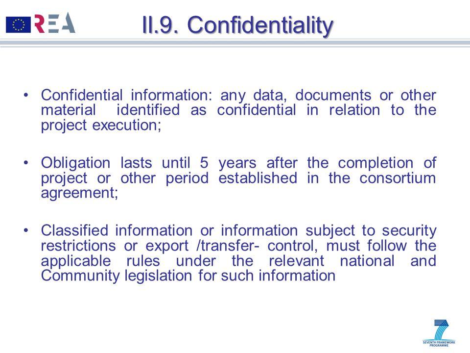 II.9. Confidentiality