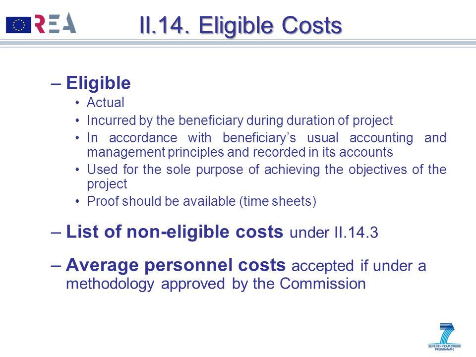 II.14. Eligible Costs Eligible
