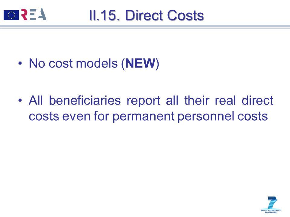 II.15. Direct Costs No cost models (NEW)