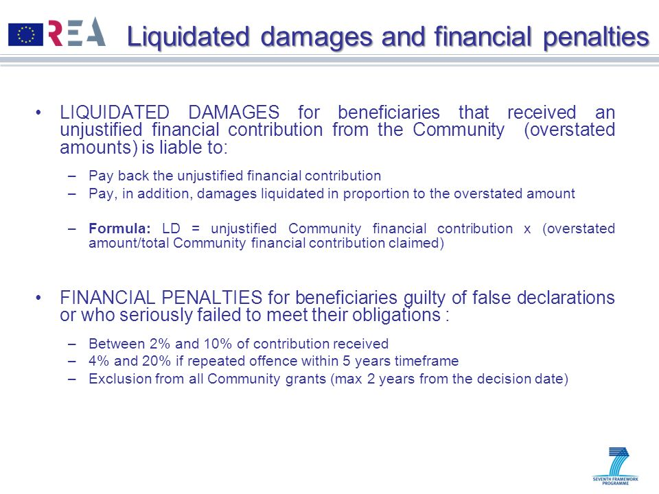 Liquidated damages and financial penalties