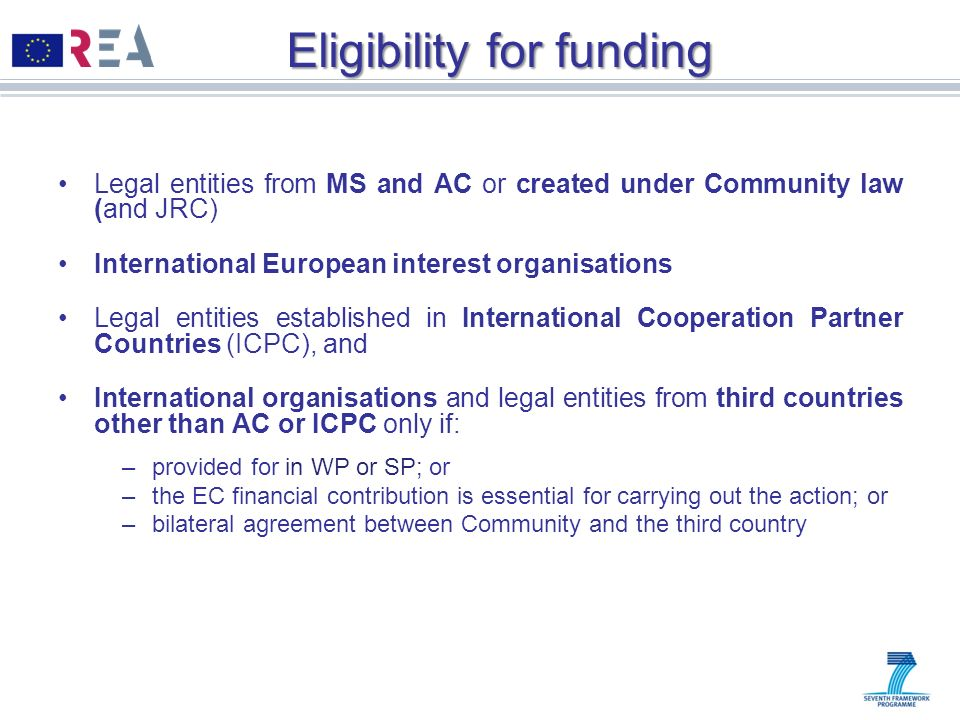 Eligibility for funding