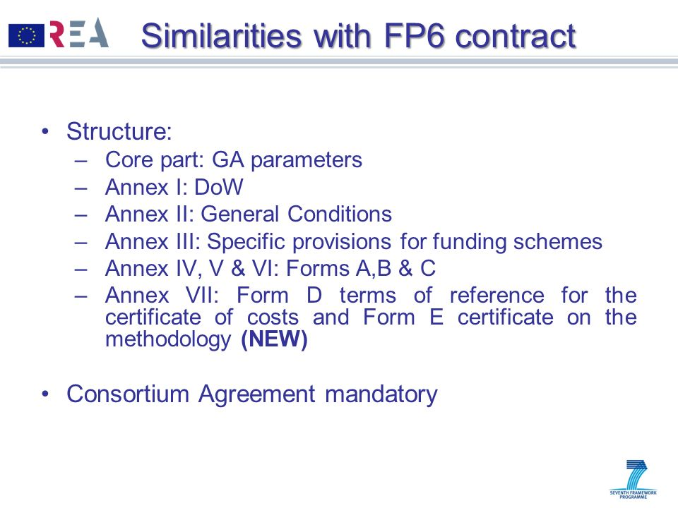 Similarities with FP6 contract