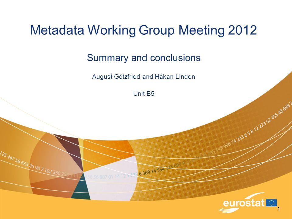 Metadata Working Group Meeting 2012