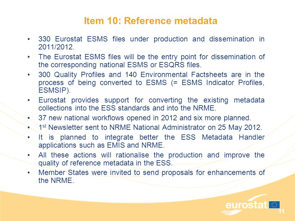 Item 10: Reference metadata