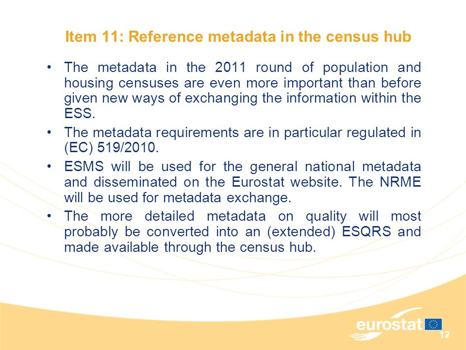 Item 11: Reference metadata in the census hub