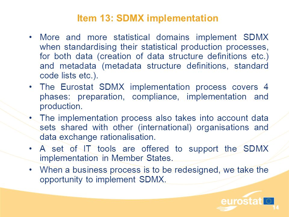 Item 13: SDMX implementation