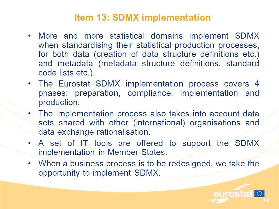 Item 13: SDMX implementation