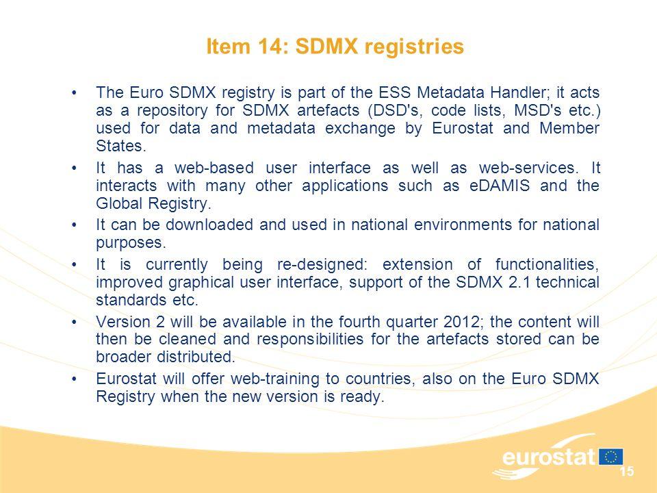 Item 14: SDMX registries
