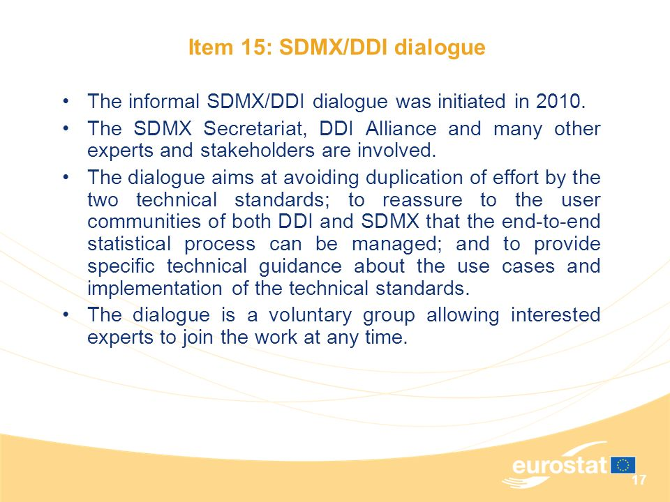 Item 15: SDMX/DDI dialogue